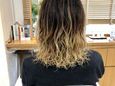金髪ブリーチ毛に何とかパーマをかけました。